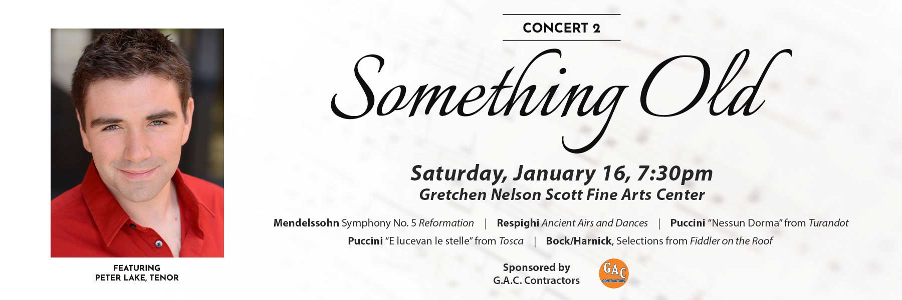 Something Old Saturday January 16, 2021, 7:30 pm. Featuring Peter Lake, Tenor.